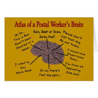 Atlas del cerebro de un empleado de correos tarjeta de felicitación