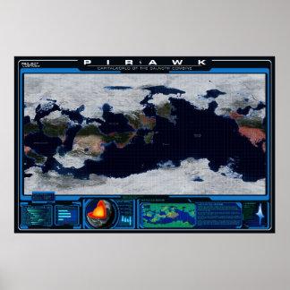 Atlas del planeta de Pirawk Póster