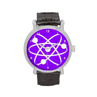Átomo púrpura violeta reloj