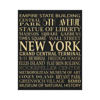 Atracciones de Nueva York Impresión De Lienzo