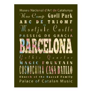 Atracciones y lugares famosos de Barcelona, España Postal