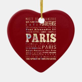Atracciones y lugares famosos de París, Francia Adorno De Cerámica En Forma De Corazón