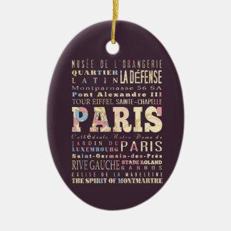 Atracciones y lugares famosos de París, Francia Adorno Ovalado De Cerámica