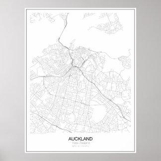 Auckland, mapa minimalista de Nueva Zelanda Póster