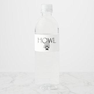 Aullido de la CAMISETA Etiqueta Para Botella De Agua