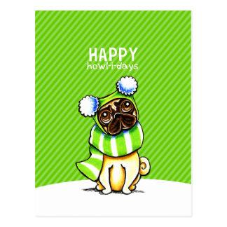 Aullido-yo-días felices del navidad del gorra de postal