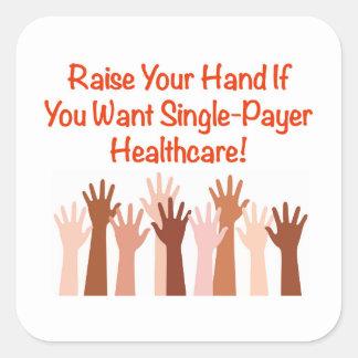 Aumente su mano para la atención sanitaria del pegatina cuadrada