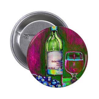 Aún el arte moderno de la vida del vino y las uvas chapa redonda de 5 cm