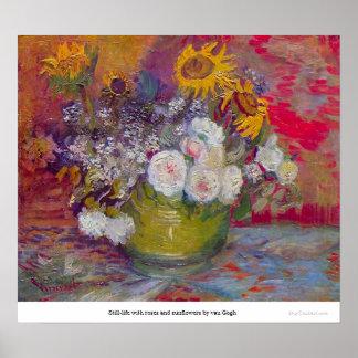 Aún-vida con los rosas y los girasoles de Van Gogh Póster