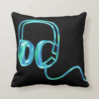 Auriculares azules de DJ almohada de registro del