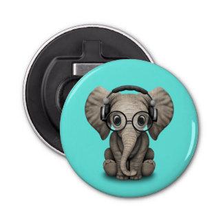 Auriculares que llevan y vidrio de DJ del elefante Abrebotellas