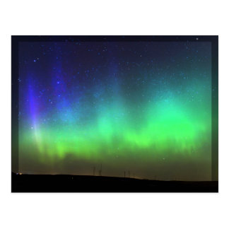 Aurora boreal - postal negra de la frontera