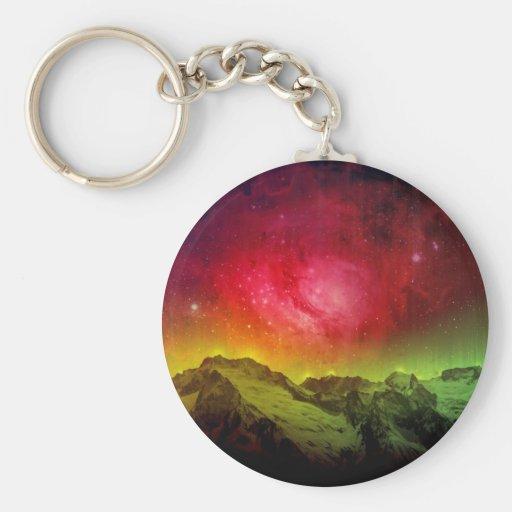 Aurora rosada Borealis del flor sobre una montaña  Llavero