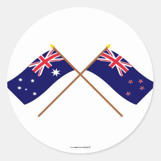 Australia y banderas cruzadas Nueva Zelanda Pegatina Redonda