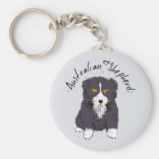 Australian Shepherd, cachorro, black tri Llavero Redondo Tipo Chapa