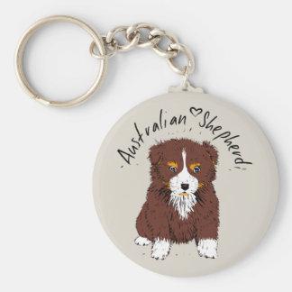 Australian Shepherd, cachorro, hablas bi Llavero Redondo Tipo Chapa