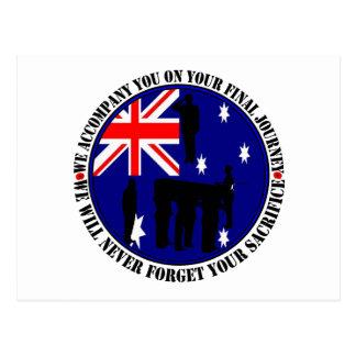Australian trampas Heroes Funeral Postales