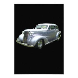 Auto clásico antiguo de la plata y del cromo 1940 invitación 8,9 x 12,7 cm