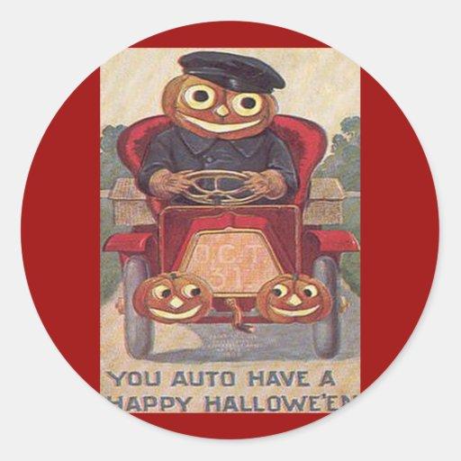 Auto Halloween del vintage Pegatina Redonda