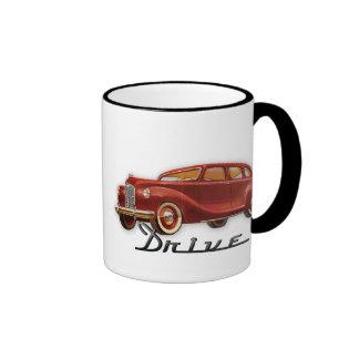 Auto retro clásico fresco del conductor de coche taza de dos colores