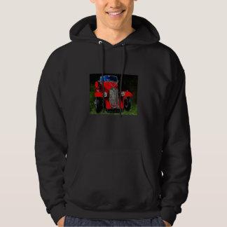 Auto rojo clásico pulóver con capucha