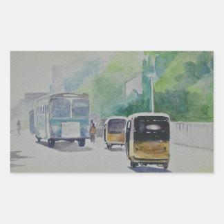 Auto - taxi indio rectangular pegatinas