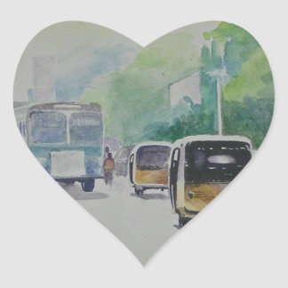 Auto - taxi indio calcomanías de corazones