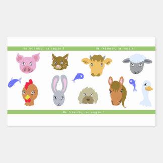 Autoadhesivo vegan: retratos de animales pegatina rectangular