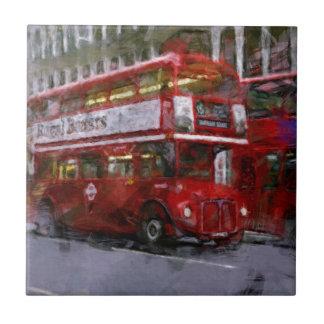 Autobús de dos plantas rojo del cuadrado de azulejo cuadrado pequeño