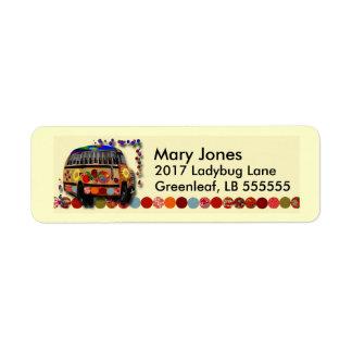 Autobús de la mariquita etiqueta de remite