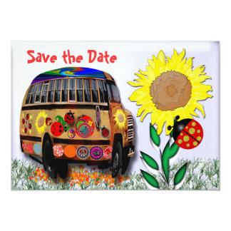 Autobús de la mariquita invitación 12,7 x 17,8 cm