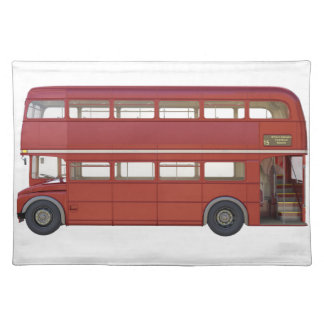 Autobús del rojo del autobús de dos pisos salvamanteles