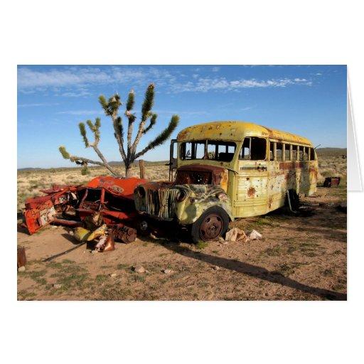 Autobús en desierto de Mojave Tarjeta De Felicitación