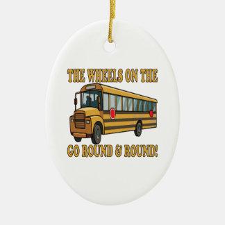 Autobús escolar adorno ovalado de cerámica
