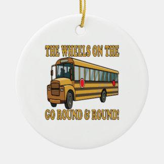 Autobús escolar adorno redondo de cerámica