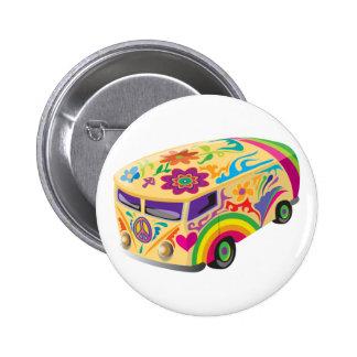 Autobús pintado psicodélico colorido chapa redonda de 5 cm