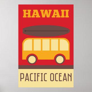 Autobús que practica surf hawaiano póster