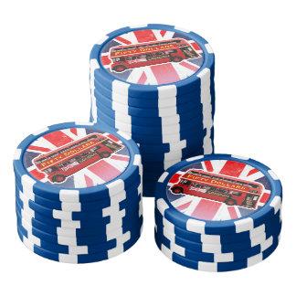 Autobús rojo de Londres temático Fichas De Póquer