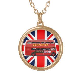 Autobús rojo del autobús de dos pisos de Londres Collar Dorado