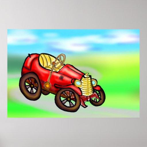 Automóvil rojo viejo impresiones