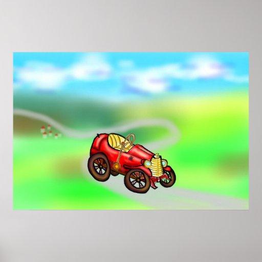 Automóvil rojo viejo posters