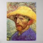 Autorretrato con el gorra de paja de Vincent van G Poster