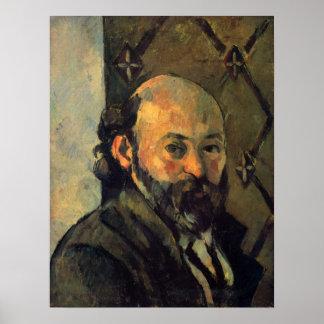 Autorretrato delante del papel pintado por Cezanne Posters