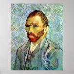 Autorretrato verde de Van Gogh Posters
