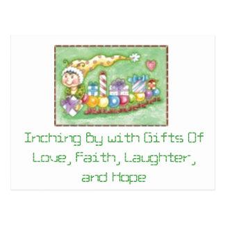 Avance lento cerca con la postal de los regalos