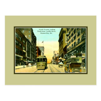 Avenida de Grant del vintage, tranvía, Kansas City Postal
