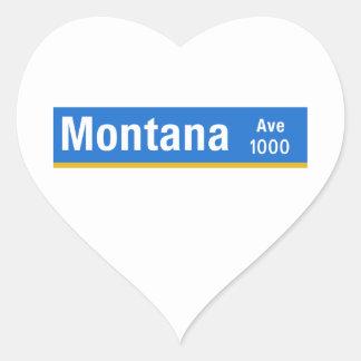 Avenida de Montana, Los Ángeles, placa de calle de Pegatina En Forma De Corazón