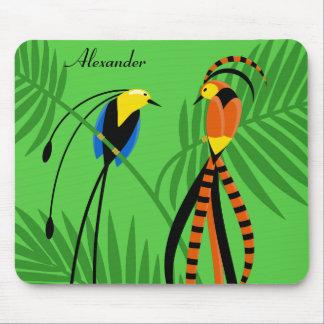 Aves del paraíso coloridas brillantes alfombrilla de ratón