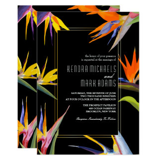 Aves del paraíso, invitaciones florales del boda invitación 12,7 x 17,8 cm