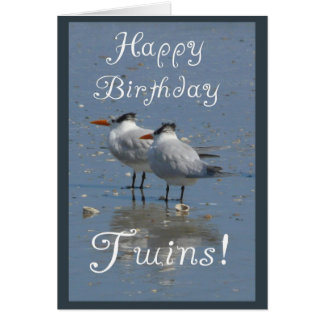 Aves marinas Gemelo-Idénticas del feliz cumpleaños Tarjeta